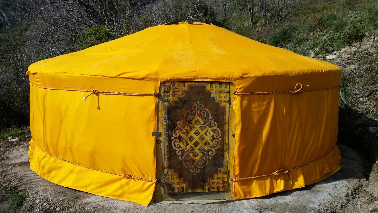 Traditional Mongolian ger with safran cover
