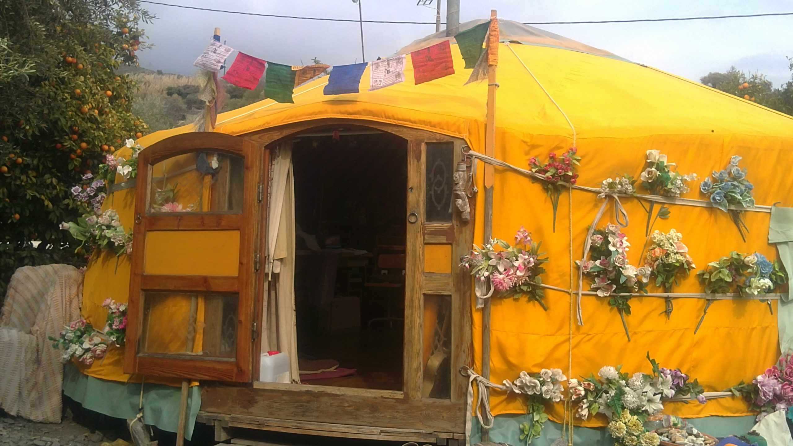 Yellow Yurt with Flowers