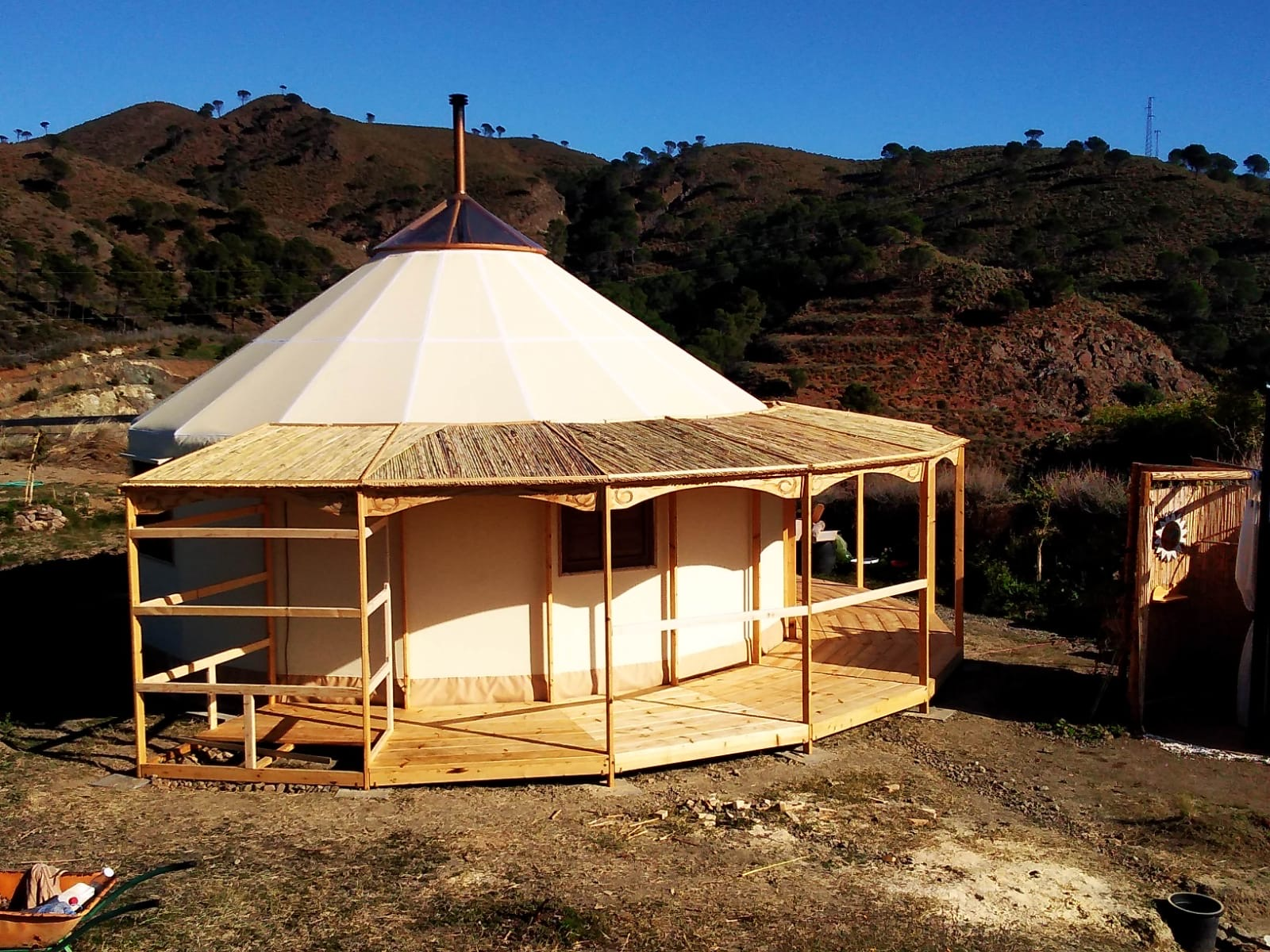Yurt with a Wooden Balcony